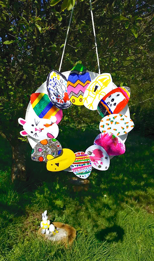 easter crafts for kids paper plate wreath