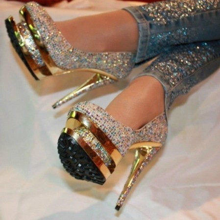 gold pumps high heels