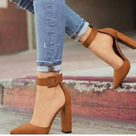 tan pump high heels